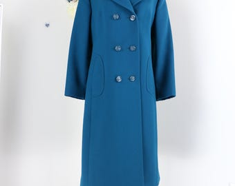 1950s 60s Coat - Long Wool Winter Vintage Coat - Teal Blue - Medium/Large - Double Breasted Statement Coat - Pockets - Pristine