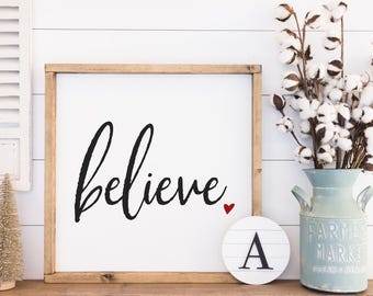 Believe, Believe wall art, Christmas signs, Holiday Decor, Scripture wood sign, Home Decor Signs, Housewarming gift, Farmhouse Decor