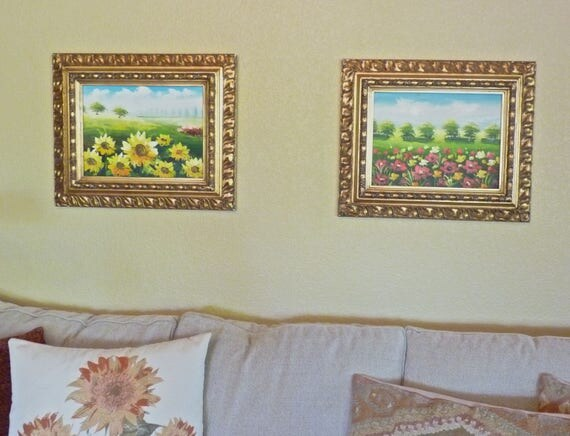 PAINTINGS ACRYLIC ORIGINAL ~ Framed Original Art ~ Acrylic Floral Landscape ~ Sunflowers and Poppies ~ Stretched Canvas ~ Mid Century