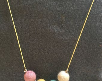 Necklace In Pale Spring Colours, Pink, Baby Yellow, Pale Green And Off-White Inter-Spaced With Silver Beads