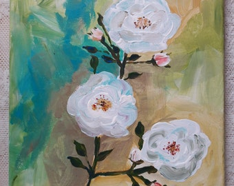 Acrylic white flowers on canvas/stretcher
