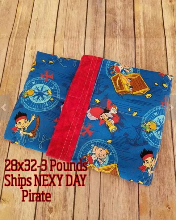 Pirate, 3 Pound, WEIGHTED BLANKET, 3 pounds, 28x32, for Autism, Sensory, ADHD, Calming, Anxiety