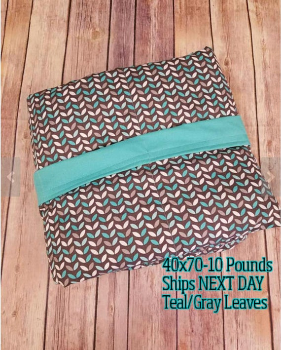 Weighted Blanket, 10 Pound, Mint Gray Leaves, Teal Back, 40x70, READY TO SHIP, Twin Size, Adult Weighted Blanket, Next Business Day To Ship