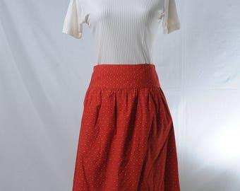 Two Dollars Skirt - Vintage red dot polka dot knee-length skirt