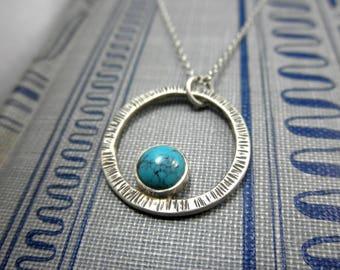 Turquoise Orbit Pendant, Turquoise Cradled Pendant, December Birthstone, Rustic Turquoise Pendant, Turquoise Pendant