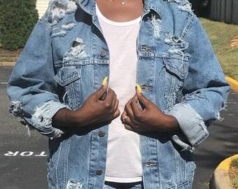 Sale 15% OFF Vintage Denim Jacket distressed custom various vintage brands levis gap lee wrangler unisex clothing mens denim jacket womens d