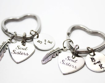 soul sisters keychain, soul sisters key chain, soul sisters gift, best friend gift, best friend keychain, best friend soul sisters keychain