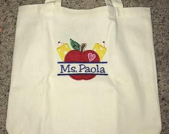 Teacher tote bag, teacher appreciation, back to school, tote, bag, book bag, school bag
