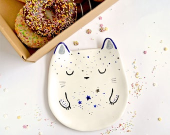Cat Lover Plate, Trinket Dish, Ceramic Cat Plate, Ceramic Plate, Cat Ring Dish, Jewellery Dish, Home Accessory