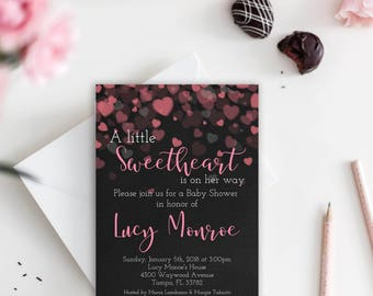 Valentine Baby Shower Invitation, Valentine Baby Shower Template, A Little Sweetheart Baby Shower Invitation, You Edit, Printable, Girl,Pink