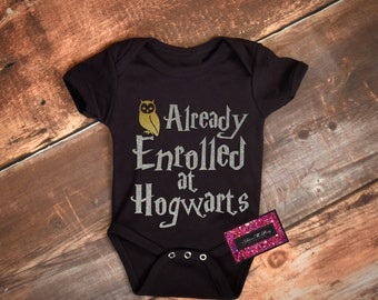 Glitter Geek Baby Onesie - Harry Potter Enrolled At Hogwarts