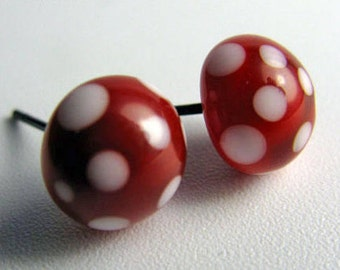 Red Lampwork earrings with white polka dots
