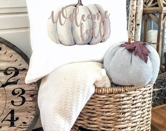 Welcome Fall Pillow Cover - Pumpkin Pillow Cover - Thanksgiving Pillow Cover - Orange Pumpkin Pillow - Neutral Pillow Cover - Give Thanks