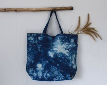 Hand Dyed Shibori Canvas Tote    Cloud Collection