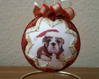 Quilted Christmas Ornament, Bulldog Ornament