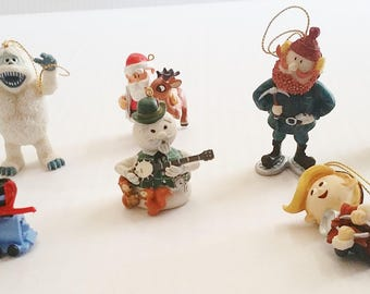 Misfit Toy Lot Of 7 TREE ORNAMENTS Island Of Misfit Toy RARE Rudolph Red-Nosed Reindeer Christmas Stocking Stuffer Stone Detailed
