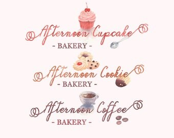 Afternoon cupcake cookie coffee | Photograph Premade Logo Watermark Design | Logo Branding | Blog Header | Marketing Logo | Bakery