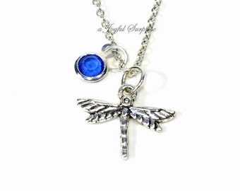 Dragonfly Necklace, Dragon Fly Gift for Gardeners Jewelry, Dragonflies Secret Sister Birthday Present Christmas birthstone choice crystal