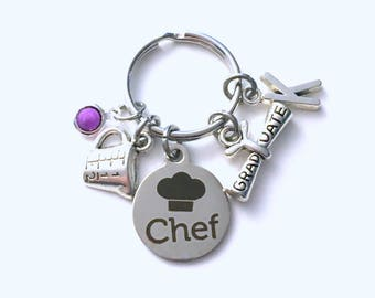 Chef Graduation Gift for Culinary Keychain, Cook Key Chain, Grad Present Stethoscope Keyring women Initial Birthstone her him men cooking