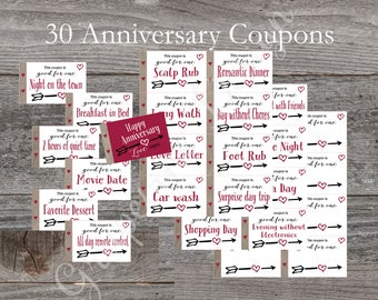 Anniversary gift or Valentine Love coupon book.22 coupons+8 blank.Husband gift.Printable Valentine.Happy Anniversary coupon book.Wife gift
