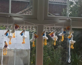 Crochet stork bunting/ garland