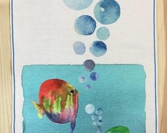Linen panel. Digital print of watercolor.