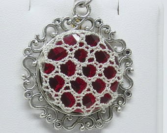Bobbin Lace Red Crystal Pendant with Metallic Silver Overlay