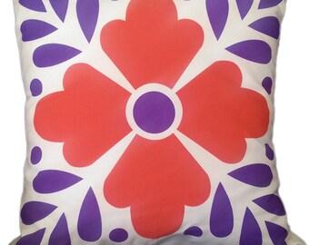 "Talavera inspired sofa cushion, 18x18"" Style # 01"