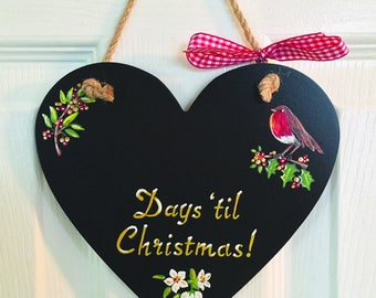 Christmas Robin Countdown Plaque heart-shaped chalkboard, hand illustrated