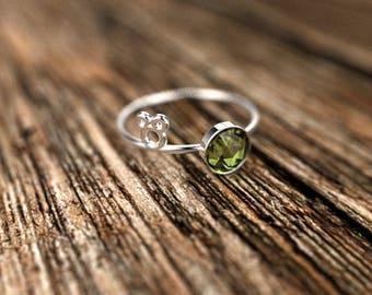 Mickey White Gold Peridot Disney Inspired Engagement Ring White Gold Peridot Ring Peridot Engagement Ring Gemstone Ring Peridot Ring