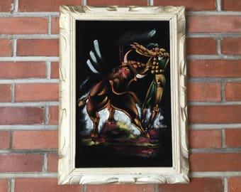 """Matador on Velvet Painting, 16"""" by 22"""" Carved Frame Matador and Bull on Black Velvet"""
