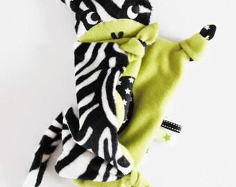 Plush Zebra minkee and cotton stars.