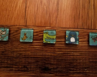 Set Of 5 Glass Square Magnets
