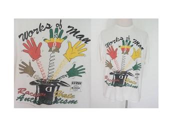Vintage 90's Stop Racism Hate Anti Semitism one love positive people tee tshirt