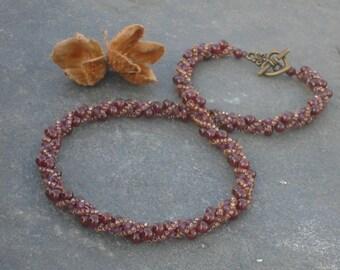 Elderberry Gemstone Necklace, Garnet and Czech seed bead necklace, UK seller