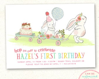 Bunny Birthday Invitation, Spring Birthday Invitation, Bunny Birthday Invitation, First Birthday Invitation, Floral Birthday Invitation, PDF