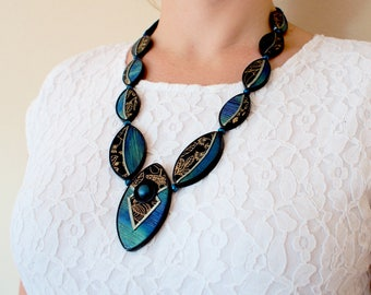 black statement necklace -  black blue necklace - big necklace - modern jewelry - elegant necklace - evening jewelry - long necklace