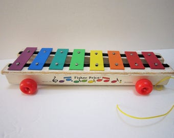 Vintage Fisher Price Xylophone Pull Toys Baby Nursery Decor Rainbow Colored Musical Instrument Pull Along Toy Retro 70s Toys Wood Base Kids