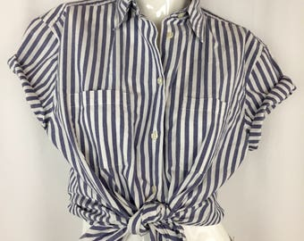 Vintage 90's Cotton Striped Shirt || Casual Blue and White Button Down Top || The Perfect Oxford Button Up Blouse || Large