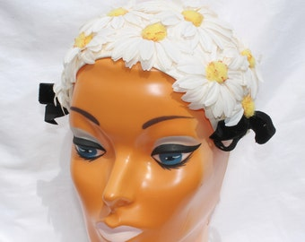 Vintage 1950's Floral Daisy Headband Hat