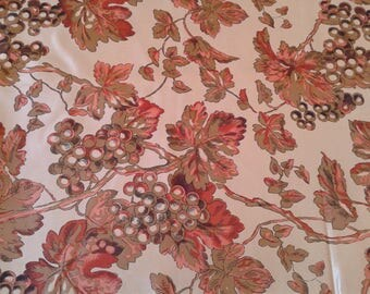 Autumn leaves silk print in golden beige with bunches of grapes, Bacchus, cornucopia, fall, Thai Silk