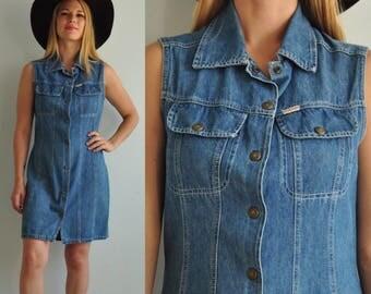 90s Stevenson Denim Snap Button Dress // Western Cowgirl Cowboy // Size 9