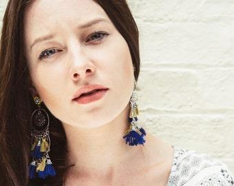 Statement boho fabric tassel dangle earrings