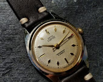 Smiths Men's Watch, Silver Case Watch, Vintage Men's, Smiths Empire, Gents Brown Leather, Mechanical Wrist Watch, Wind Up, Ivory Dial, 1950s