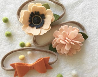 Felt Flower Headband / Felt Flower Accessories / Baby Headband / Girl Headband / Felt Bow Headband - Ready To Ship