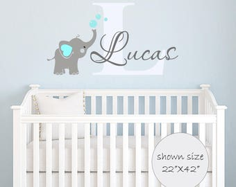 Elephant Decal - Name Wall Decal - Elephant Wall Decal - Elephants Baby Boy Room Decor - Decals Nursery-Boys Decals