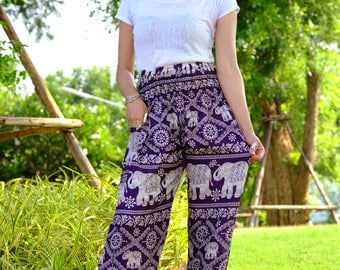 hobo pants harem pants hippie pants elephant pants in Purple