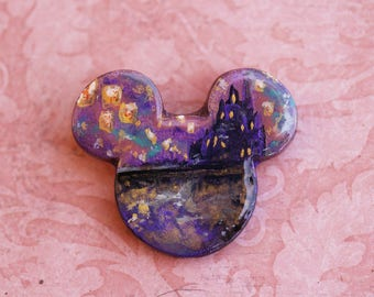 I See the Light Disney Brooch - Hand Painted Tangled Brooch - Rapunzel Floating Lanterns Mickey Brooch - One of a Kind Hollie Day Pin