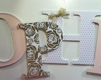 Blush Gold White Nursery Letters