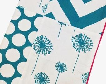 Crib Blanket Turquoise Dandelion